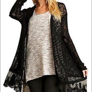 NWT Umgee lace trimmed cardigan sweater